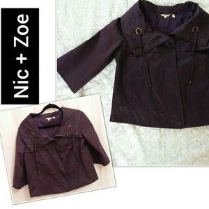 Nic+Zoe Short Jacket Small Plum
